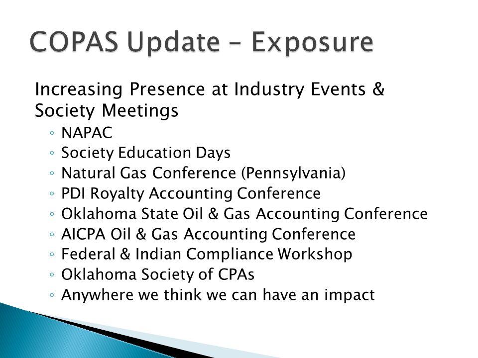 Increasing Presence at Industry Events & Society Meetings ◦ NAPAC ◦ Society Education Days ◦ Natural Gas Conference (Pennsylvania) ◦ PDI Royalty Accou