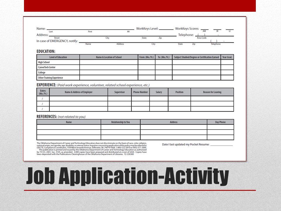 Job Application-Activity