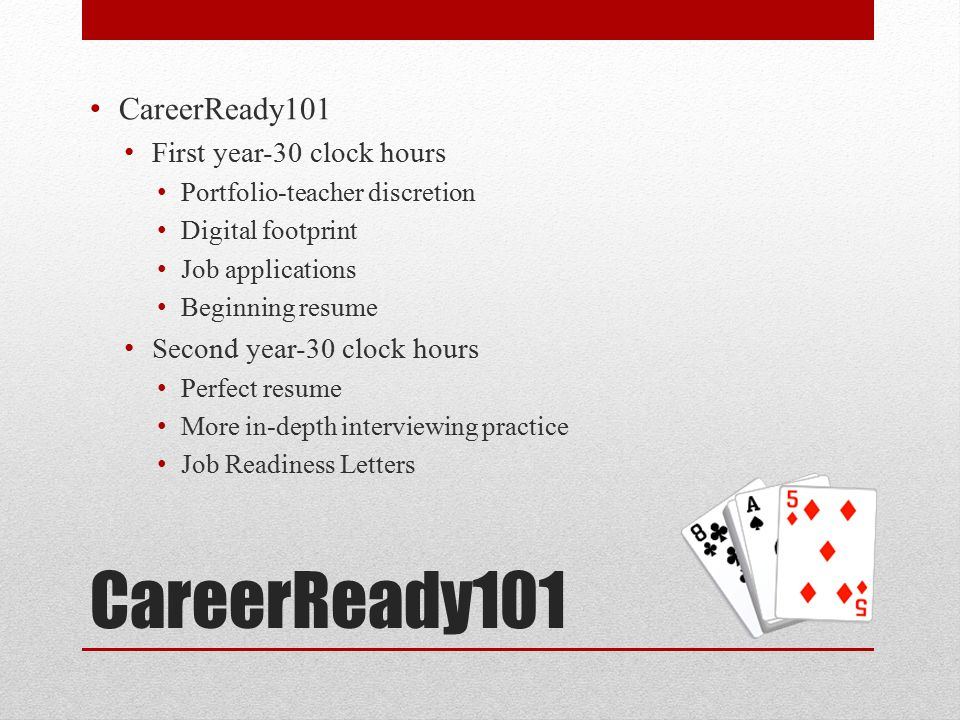 CareerReady101 First year-30 clock hours Portfolio-teacher discretion Digital footprint Job applications Beginning resume Second year-30 clock hours Perfect resume More in-depth interviewing practice Job Readiness Letters