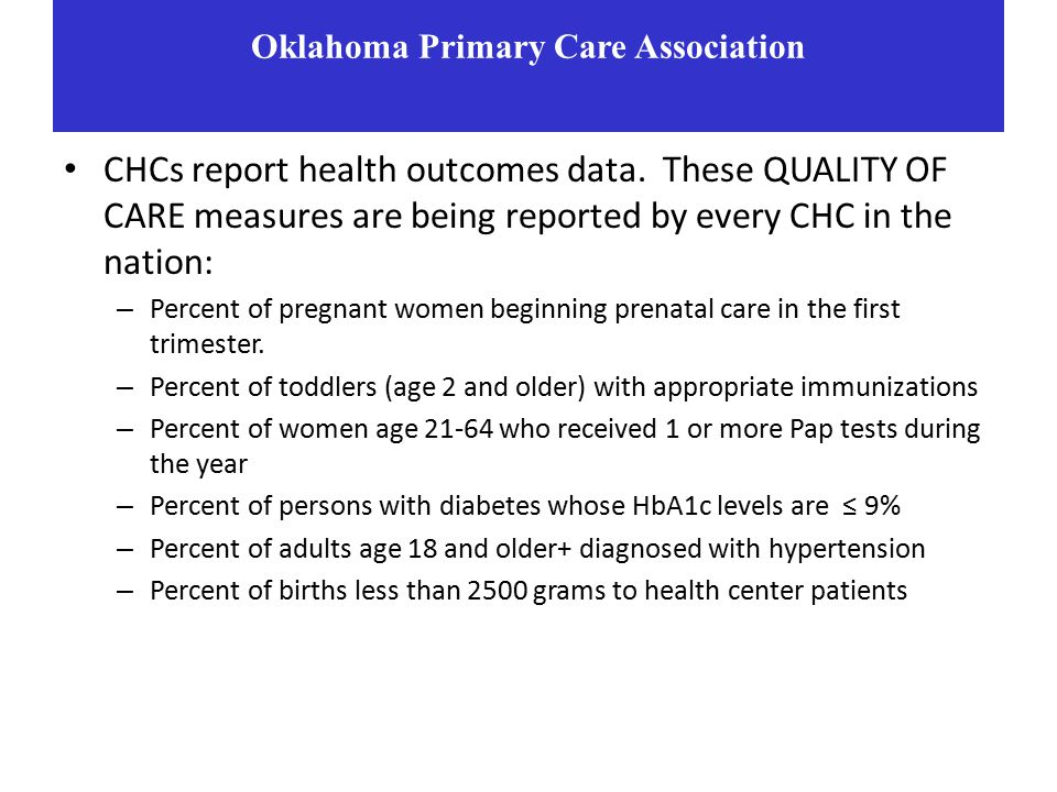 CHCs report health outcomes data.