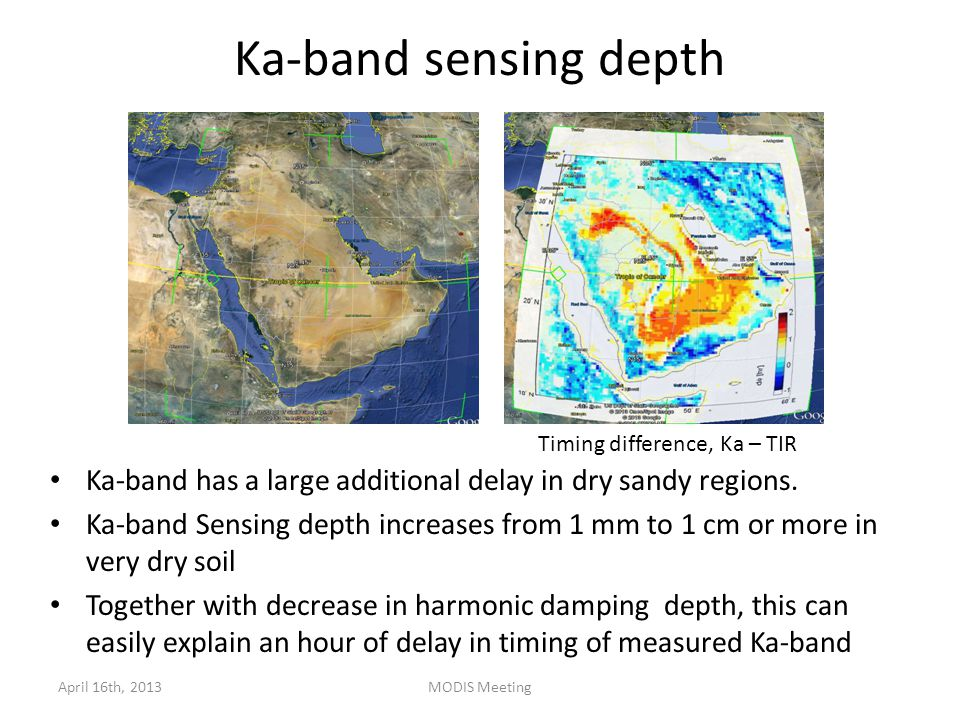 Ka-band sensing depth April 16th, 2013MODIS Meeting Ka-band has a large additional delay in dry sandy regions.