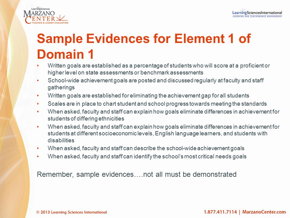 Sample Evidences for Element 1 of Domain 1 Written goals are established as a percentage of students who will score at a proficient or higher level on