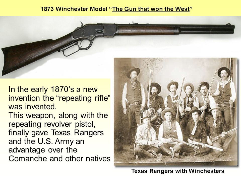 Winchester Model 1873 1873 Winchester Model The Gun that won the West In the early 1870's a new invention the repeating rifle was invented.