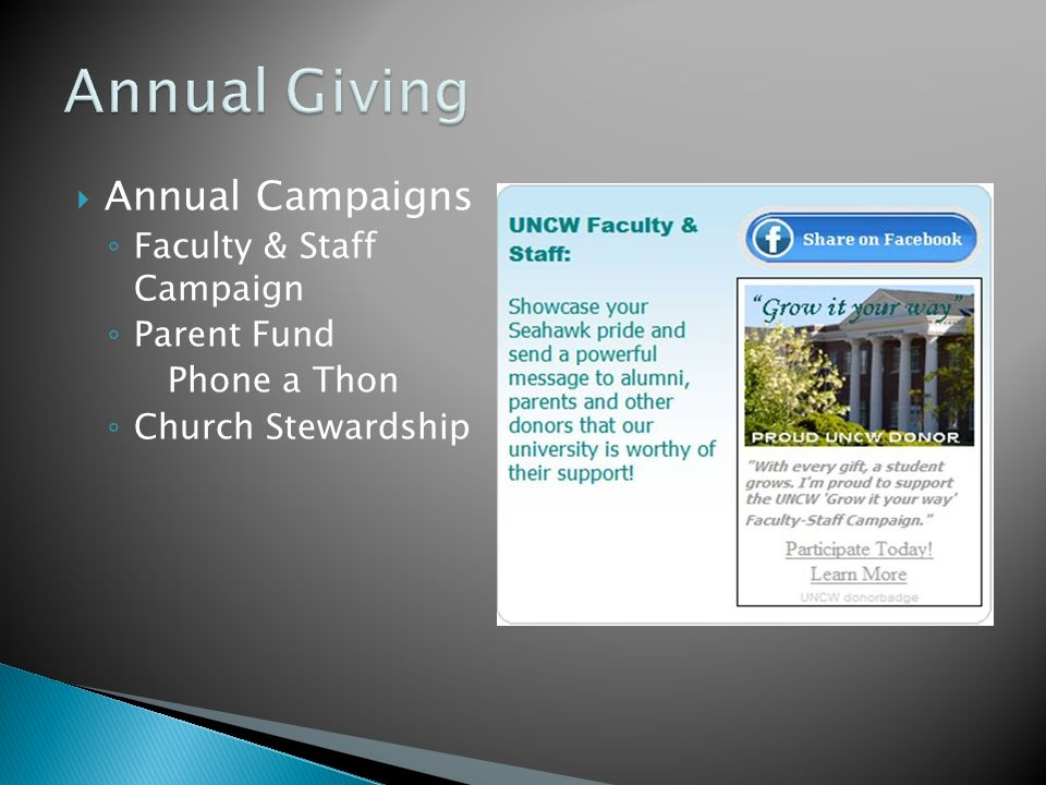  Annual Campaigns ◦ Faculty & Staff Campaign ◦ Parent Fund Phone a Thon ◦ Church Stewardship