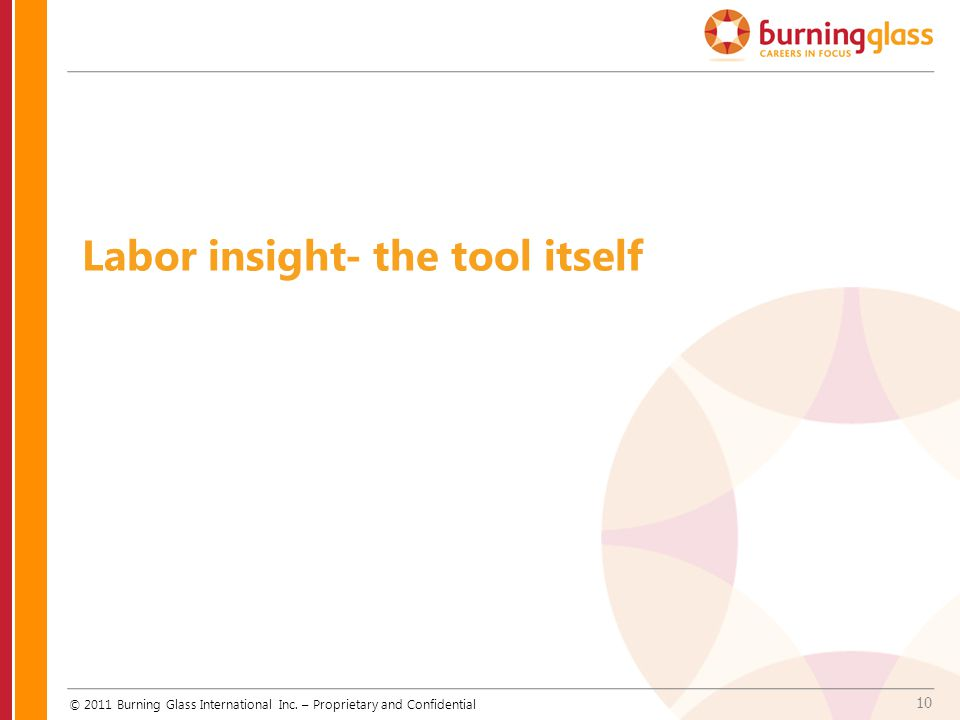 10 Labor insight- the tool itself © 2011 Burning Glass International Inc. – Proprietary and Confidential