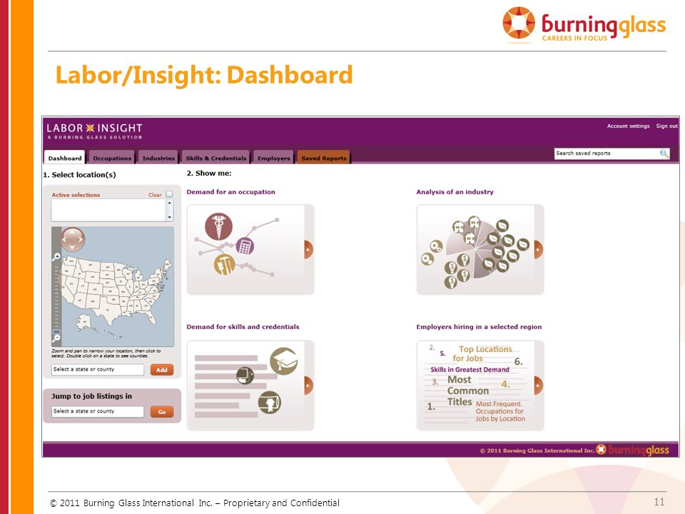 11 Labor/Insight: Dashboard © 2011 Burning Glass International Inc. – Proprietary and Confidential