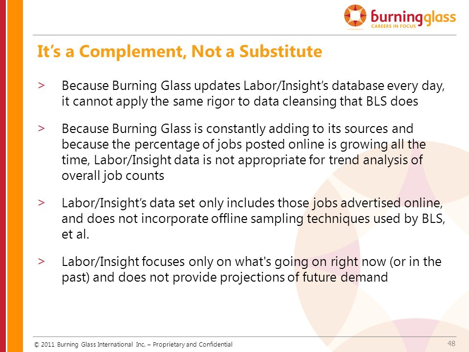48 It's a Complement, Not a Substitute © 2011 Burning Glass International Inc. – Proprietary and Confidential >Because Burning Glass updates Labor/Ins