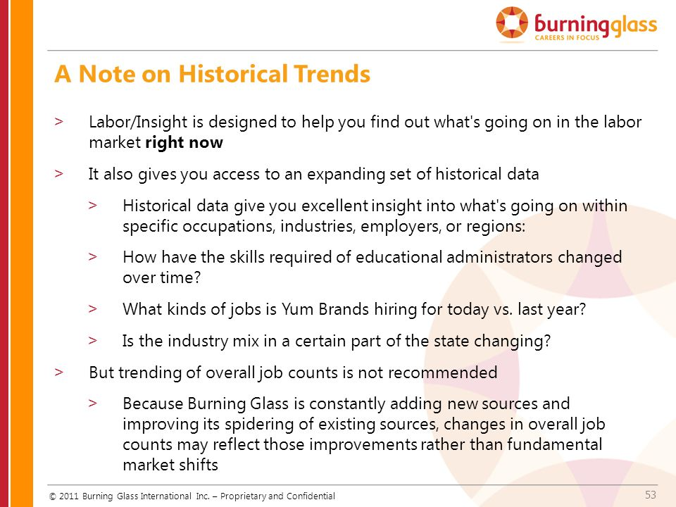 53 A Note on Historical Trends © 2011 Burning Glass International Inc. – Proprietary and Confidential >Labor/Insight is designed to help you find out