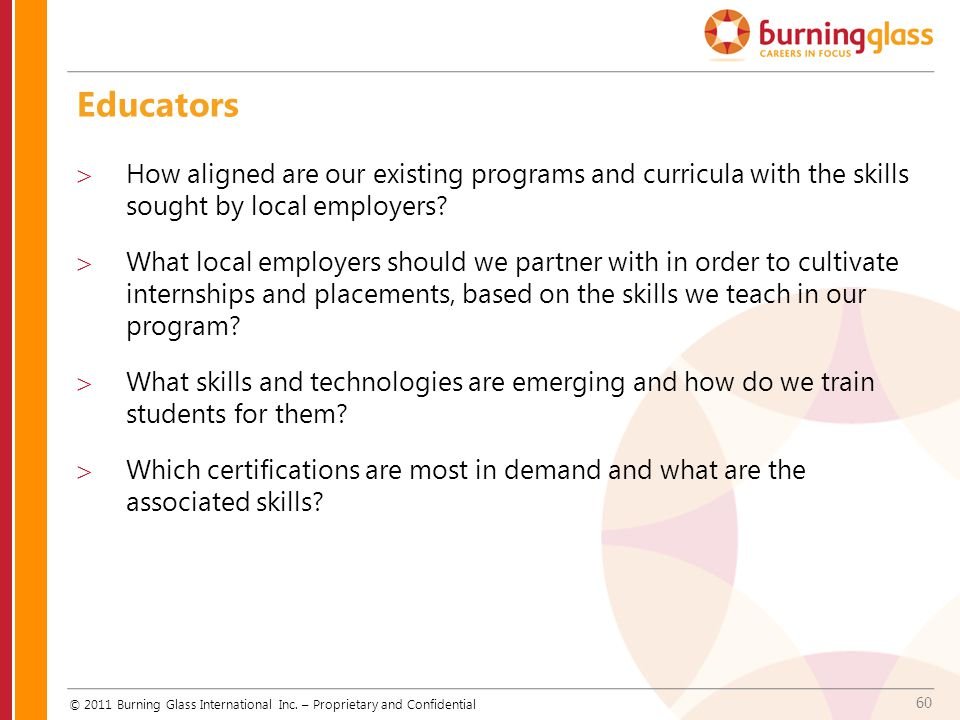 60 Educators  How aligned are our existing programs and curricula with the skills sought by local employers?  What local employers should we partner