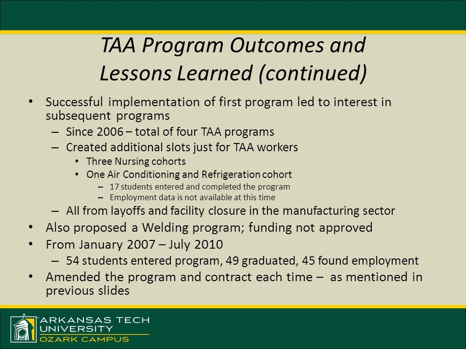 TAA Program Outcomes and Lessons Learned (continued) Successful implementation of first program led to interest in subsequent programs – Since 2006 –