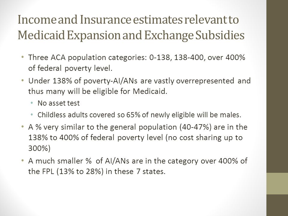 Income and Insurance estimates relevant to Medicaid Expansion and Exchange Subsidies Three ACA population categories: 0-138, 138-400, over 400% of federal poverty level.