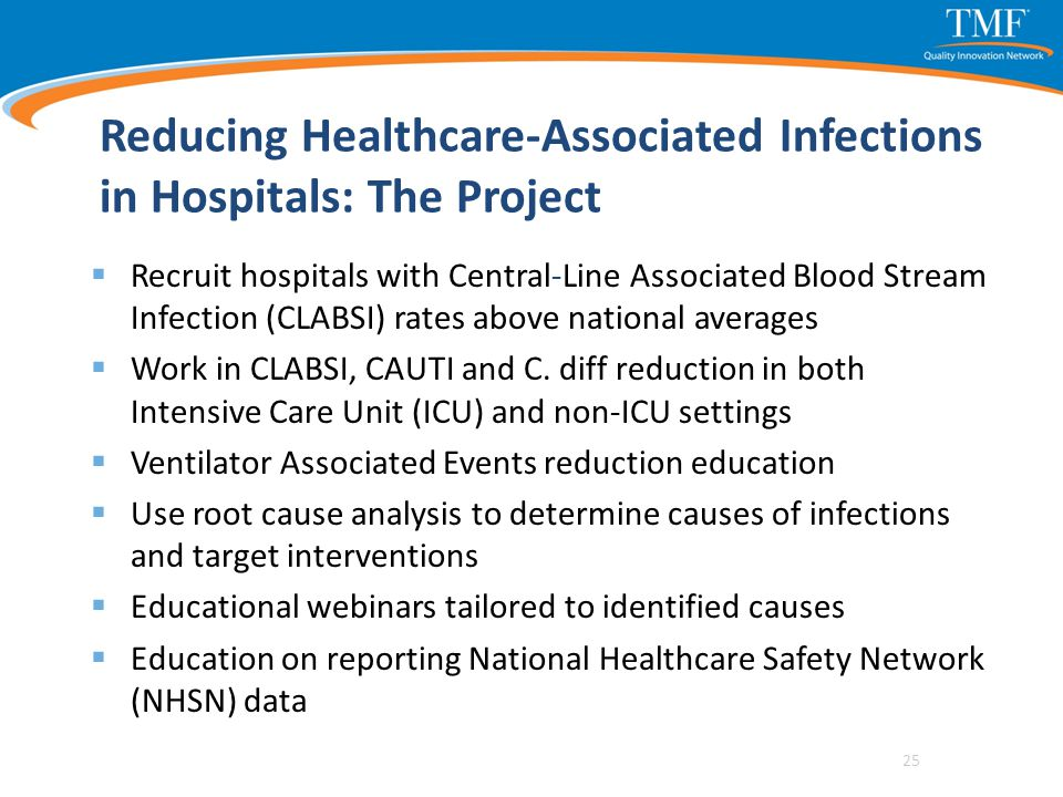 Reducing Healthcare-Associated Infections in Hospitals: The Project  Recruit hospitals with Central-Line Associated Blood Stream Infection (CLABSI) r