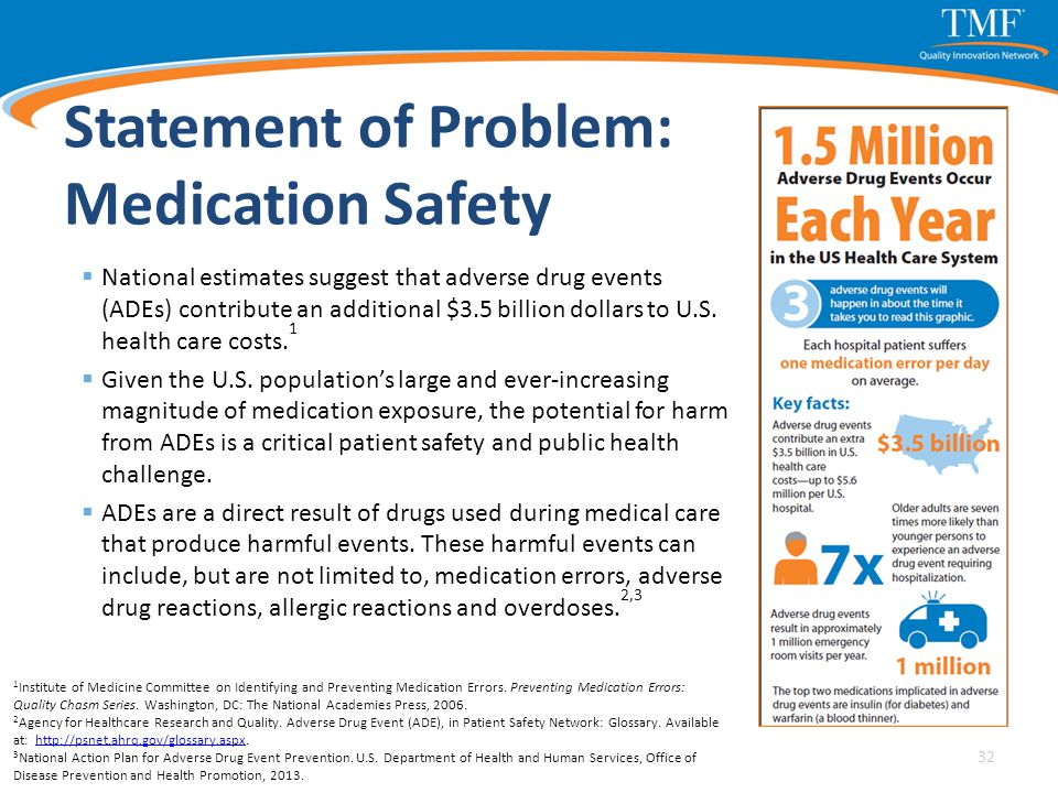 Statement of Problem: Medication Safety  National estimates suggest that adverse drug events (ADEs) contribute an additional $3.5 billion dollars to