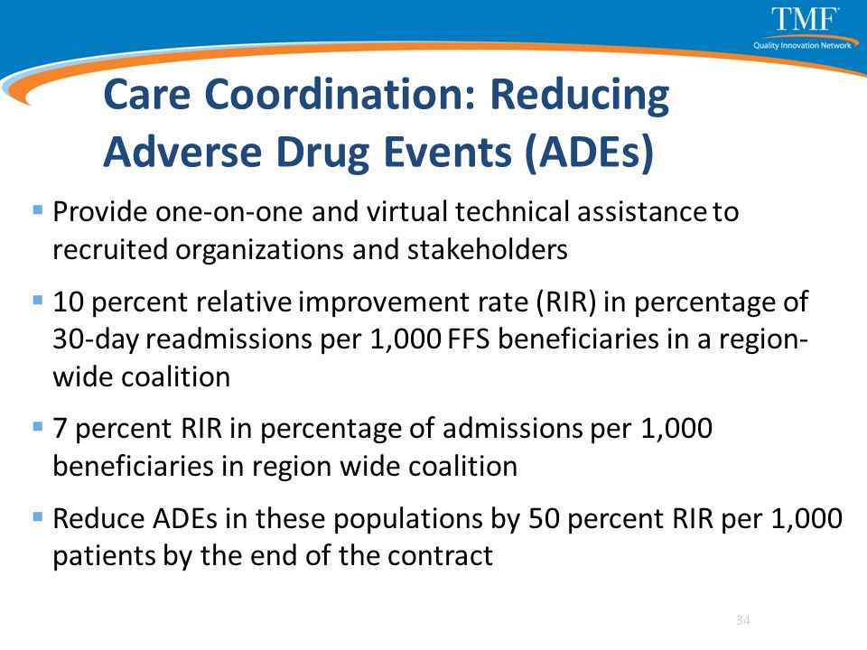Care Coordination: Reducing Adverse Drug Events (ADEs)  Provide one-on-one and virtual technical assistance to recruited organizations and stakeholde