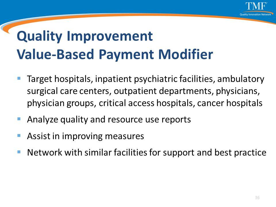Quality Improvement Value-Based Payment Modifier  Target hospitals, inpatient psychiatric facilities, ambulatory surgical care centers, outpatient de