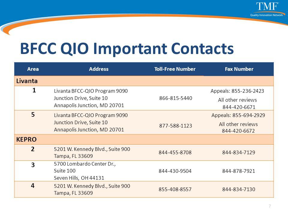 BFCC QIO Important Contacts Area AddressToll-Free Number Fax Number Livanta 1 Livanta BFCC-QIO Program 9090 Junction Drive, Suite 10 Annapolis Junctio