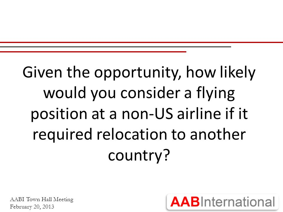 AABI Town Hall Meeting February 20, 2013 Given the opportunity, how likely would you consider a flying position at a non-US airline if it required relocation to another country