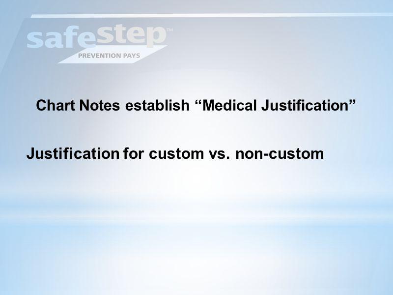 Chart Notes establish Medical Justification Justification for custom vs. non-custom