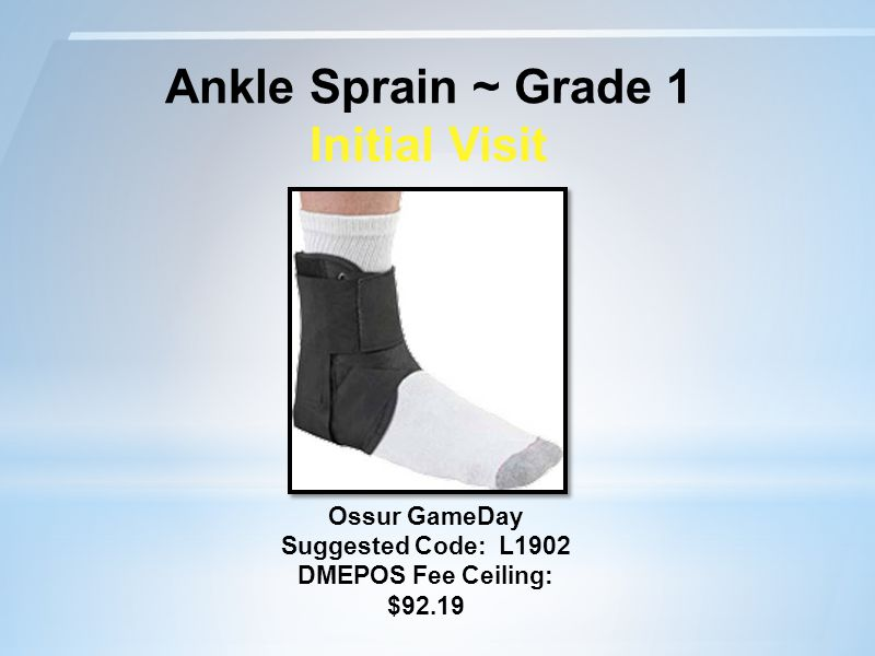 Ankle Sprain ~ Grade 1 Initial Visit Ossur GameDay Suggested Code: L1902 DMEPOS Fee Ceiling: $92.19