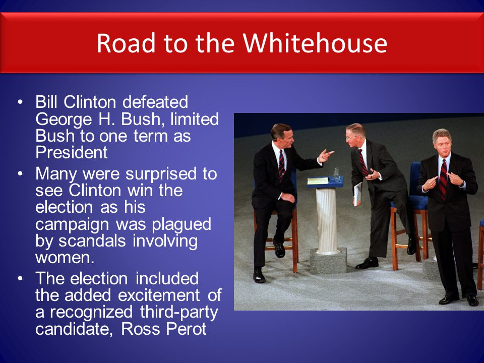 Road to the Whitehouse Bill Clinton defeated George H.