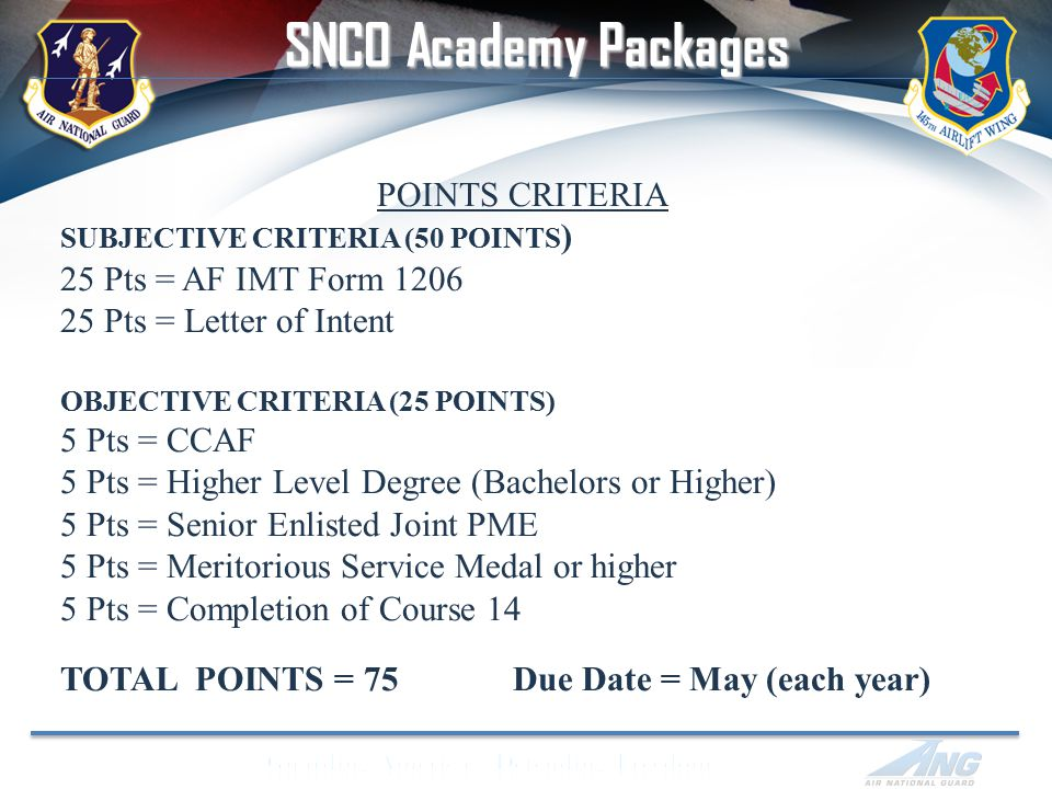 POINTS CRITERIA SUBJECTIVE CRITERIA (50 POINTS ) 25 Pts = AF IMT Form 1206 25 Pts = Letter of Intent OBJECTIVE CRITERIA (25 POINTS) 5 Pts = CCAF 5 Pts = Higher Level Degree (Bachelors or Higher) 5 Pts = Senior Enlisted Joint PME 5 Pts = Meritorious Service Medal or higher 5 Pts = Completion of Course 14 TOTAL POINTS = 75 Due Date = May (each year) SNCO Academy Packages