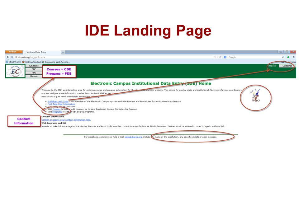 IDE Landing Page