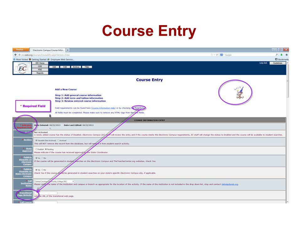 Course Entry
