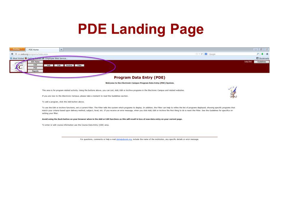 PDE Landing Page