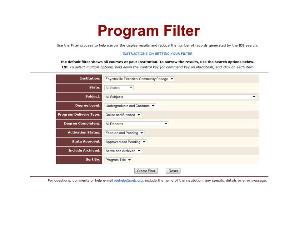 Program Filter