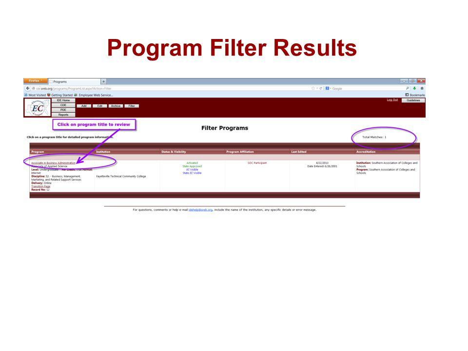 Program Filter Results