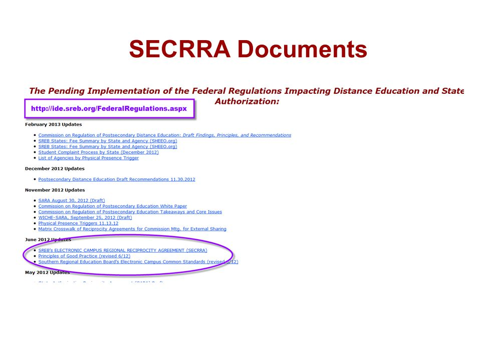 SECRRA Documents