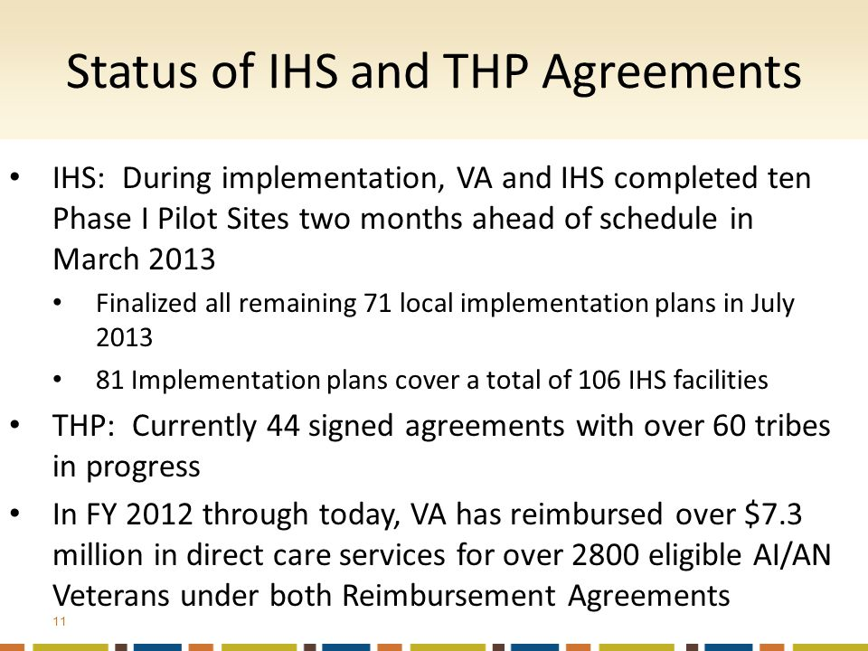 IHS: During implementation, VA and IHS completed ten Phase I Pilot Sites two months ahead of schedule in March 2013 Finalized all remaining 71 local implementation plans in July 2013 81 Implementation plans cover a total of 106 IHS facilities THP: Currently 44 signed agreements with over 60 tribes in progress In FY 2012 through today, VA has reimbursed over $7.3 million in direct care services for over 2800 eligible AI/AN Veterans under both Reimbursement Agreements Status of IHS and THP Agreements 11