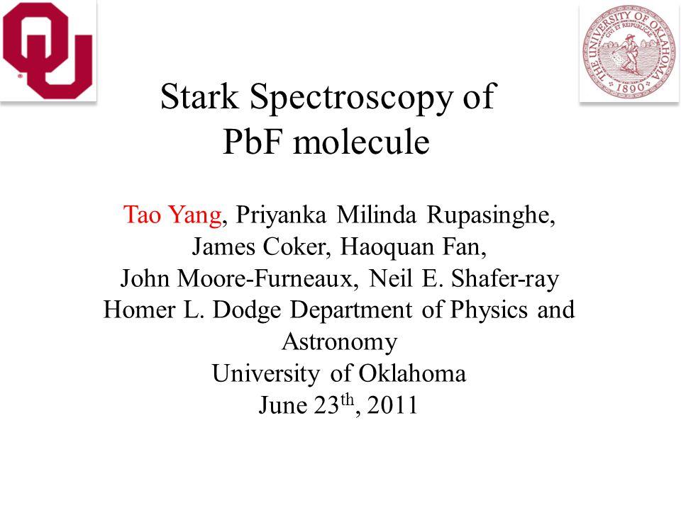 Stark Spectroscopy of PbF molecule Tao Yang, Priyanka Milinda Rupasinghe, James Coker, Haoquan Fan, John Moore-Furneaux, Neil E.
