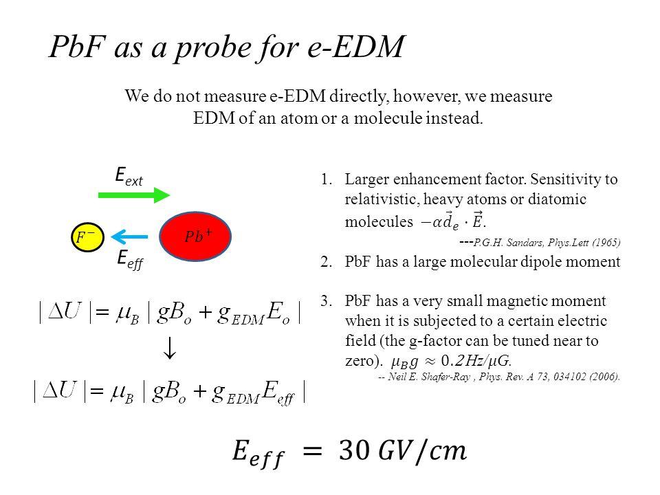 We do not measure e-EDM directly, however, we measure EDM of an atom or a molecule instead.