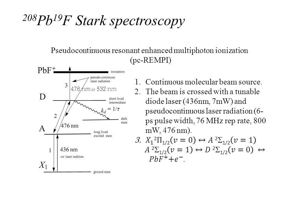 Pseudocontinuous resonant enhanced multiphoton ionization (pc-REMPI) 208 Pb 19 F Stark spectroscopy