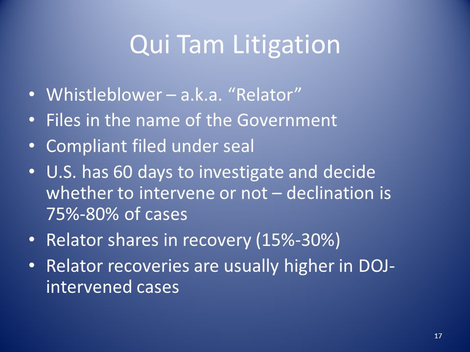 Qui Tam Litigation Whistleblower – a.k.a.
