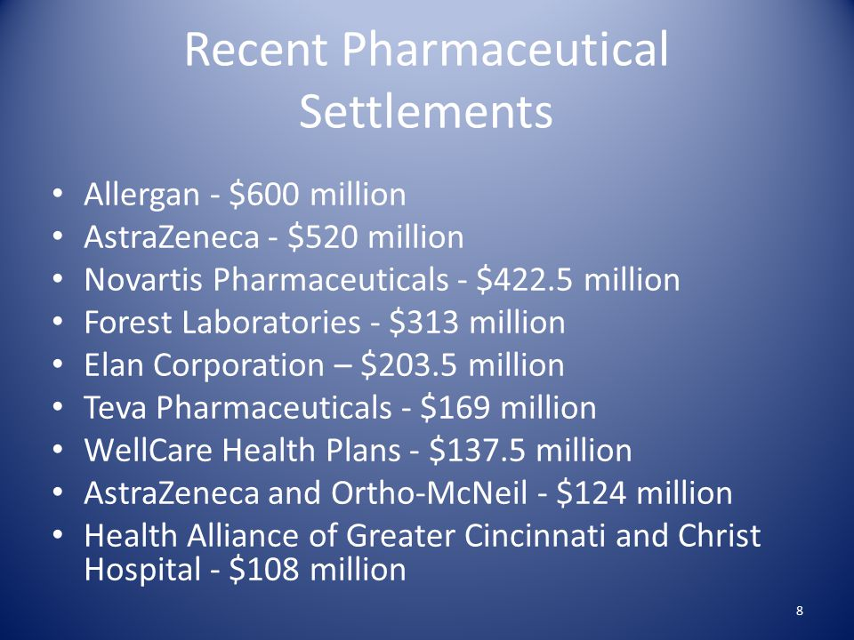 Recent Pharmaceutical Settlements Allergan - $600 million AstraZeneca - $520 million Novartis Pharmaceuticals - $422.5 million Forest Laboratories - $313 million Elan Corporation – $203.5 million Teva Pharmaceuticals - $169 million WellCare Health Plans - $137.5 million AstraZeneca and Ortho-McNeil - $124 million Health Alliance of Greater Cincinnati and Christ Hospital - $108 million 8