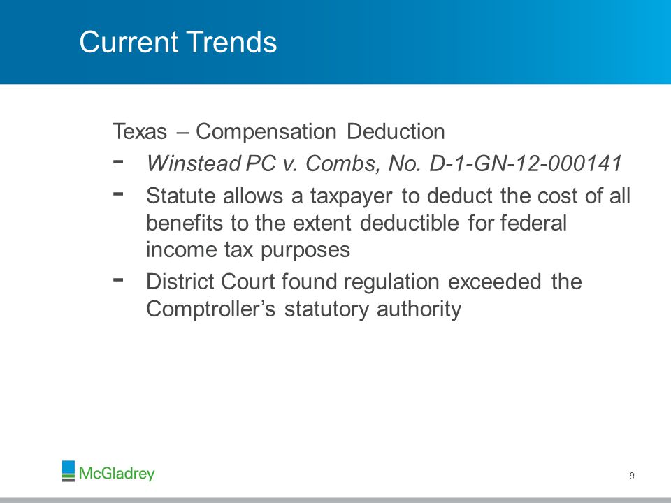 Current Trends Texas – Compensation Deduction - Winstead PC v.