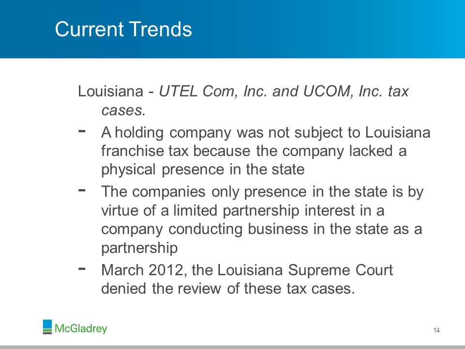Current Trends Louisiana - UTEL Com, Inc. and UCOM, Inc.