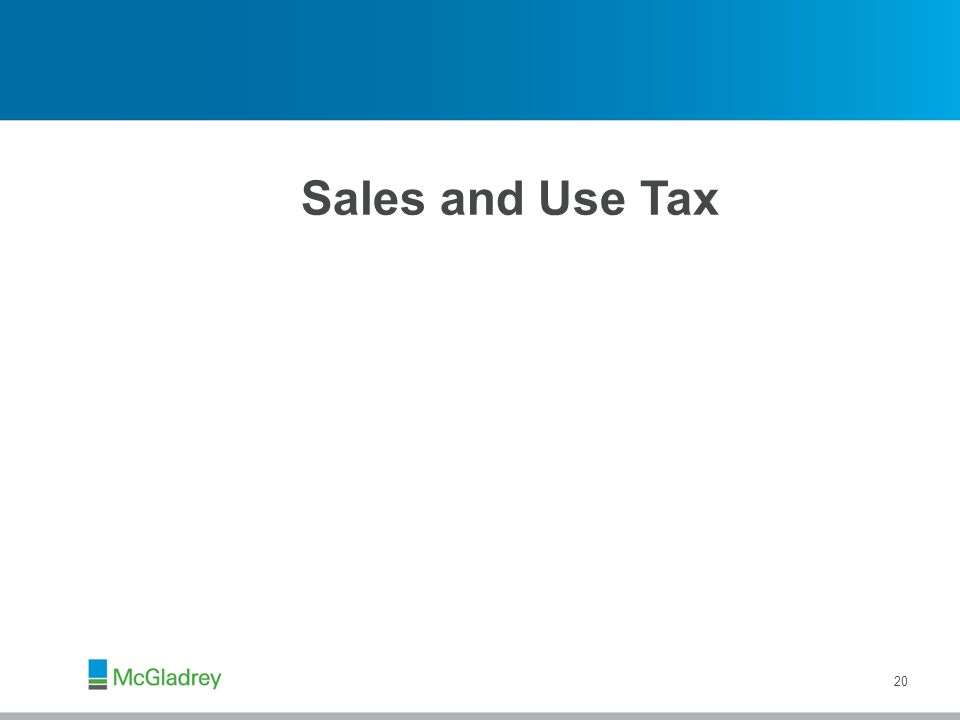 Sales and Use Tax 20