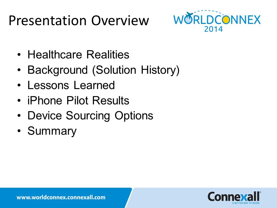 Healthcare Realities Background (Solution History) Lessons Learned iPhone Pilot Results Device Sourcing Options Summary Presentation Overview