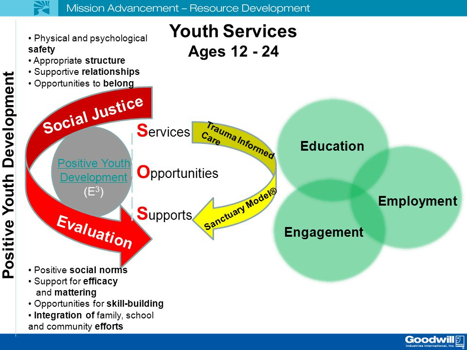 Youth Services Ages 12 - 24 Positive Youth Development (E 3 ) Social Justice Evaluation S ervices O pportunities S upports Physical and psychological safety Appropriate structure Supportive relationships Opportunities to belong Positive social norms Support for efficacy and mattering Opportunities for skill-building Integration of family, school and community efforts Positive Youth Development Trauma Informed Care Sanctuary Model® Education Engagement Employment