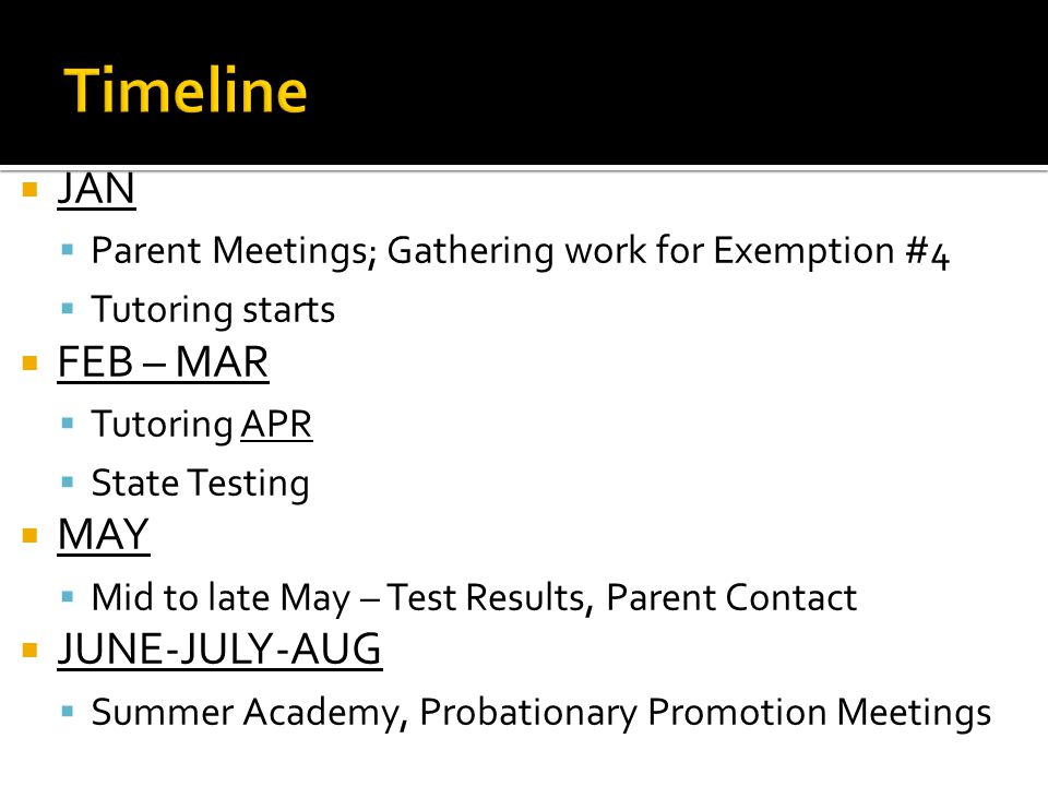  JAN  Parent Meetings; Gathering work for Exemption #4  Tutoring starts  FEB – MAR  Tutoring APR  State Testing  MAY  Mid to late May – Test Results, Parent Contact  JUNE-JULY-AUG  Summer Academy, Probationary Promotion Meetings