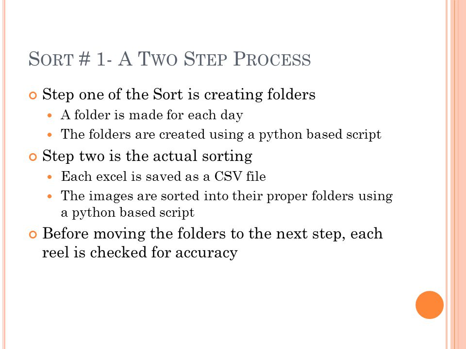 S ORT # 1- A T WO S TEP P ROCESS Step one of the Sort is creating folders A folder is made for each day The folders are created using a python based s