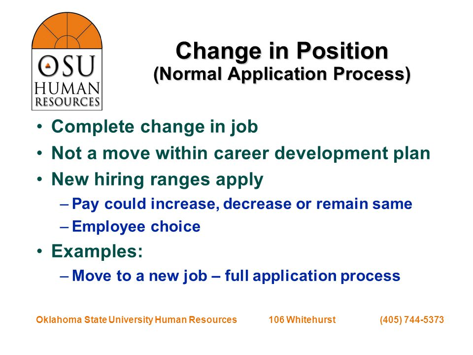 Oklahoma State University Human Resources 106 Whitehurst (405) 744-5373 Reclassification (Change in Job Group) Duties cause job to change job groups May not affect pay Examples: –Change in exemption status –Change causes facilities job to change to skilled craft –Individual Contributor vs.