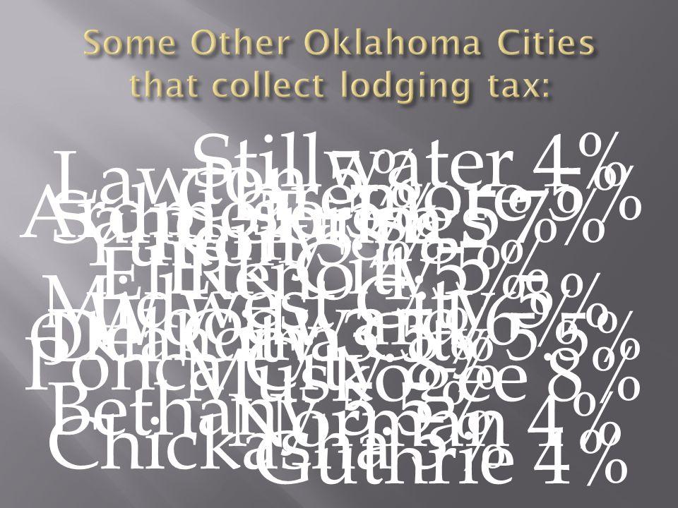 Tulsa 5% Oklahoma City 5.5% Yukon 5% El Reno 4.5% Norman 4% Stillwater 4% Bethany 5.5% Ardmore 5% Elk City 5% Chickasha 5% Claremore 5% Del City 3.5% Guthrie 4% Lawton 5% Midwest City 5% Muskogee 8% Perry 8% Ponca City 8% Sand Springs 7% Woodward 6%