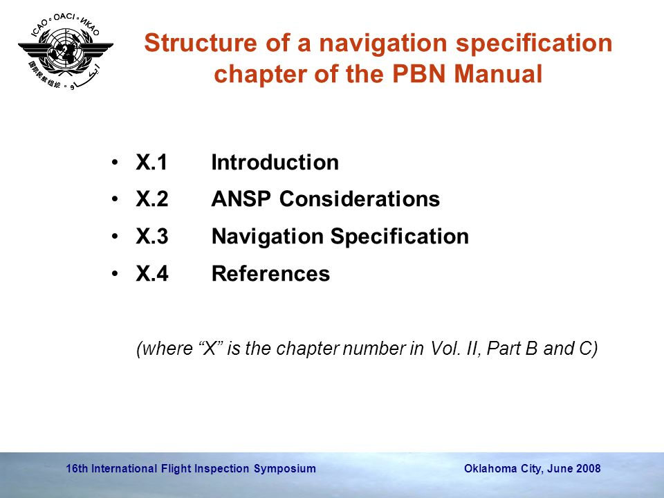 16th International Flight Inspection Symposium Oklahoma City, June 2008 Structure of a navigation specification chapter of the PBN Manual X.1Introduct