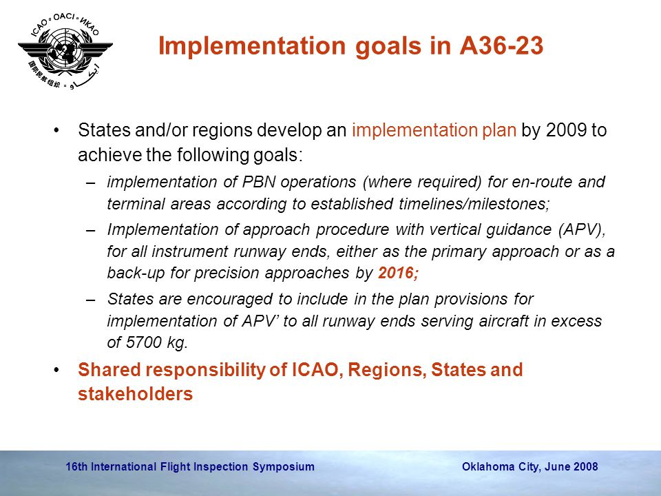 16th International Flight Inspection Symposium Oklahoma City, June 2008 Implementation goals in A36-23 States and/or regions develop an implementation plan by 2009 to achieve the following goals: –implementation of PBN operations (where required) for en-route and terminal areas according to established timelines/milestones; –Implementation of approach procedure with vertical guidance (APV), for all instrument runway ends, either as the primary approach or as a back-up for precision approaches by 2016; –States are encouraged to include in the plan provisions for implementation of APV' to all runway ends serving aircraft in excess of 5700 kg.