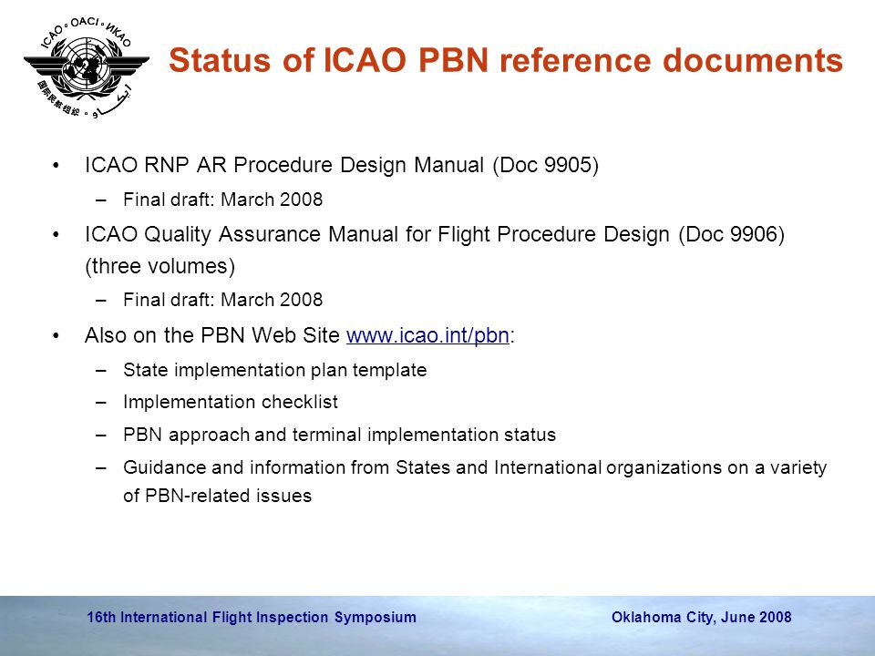 16th International Flight Inspection Symposium Oklahoma City, June 2008 ICAO RNP AR Procedure Design Manual (Doc 9905) –Final draft: March 2008 ICAO Q