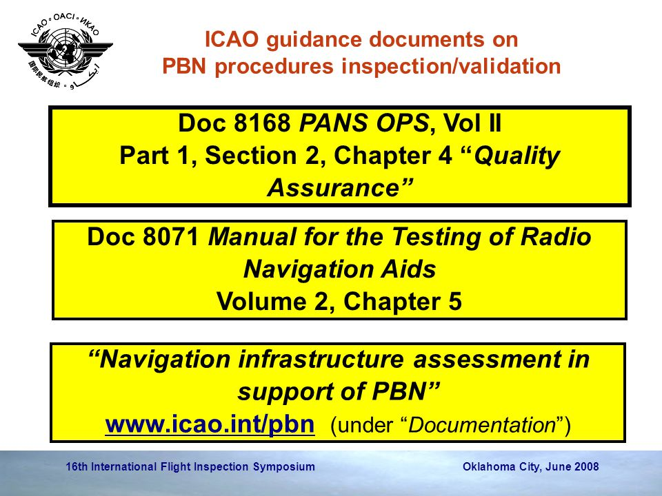 16th International Flight Inspection Symposium Oklahoma City, June 2008 ICAO guidance documents on PBN procedures inspection/validation Doc 8168 PANS OPS, Vol II Part 1, Section 2, Chapter 4 Quality Assurance Doc 8071 Manual for the Testing of Radio Navigation Aids Volume 2, Chapter 5 Navigation infrastructure assessment in support of PBN www.icao.int/pbnwww.icao.int/pbn (under Documentation )